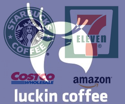 Luckin, Pinduoduo, Starbucks, 7-Eleven, JD, Amazon